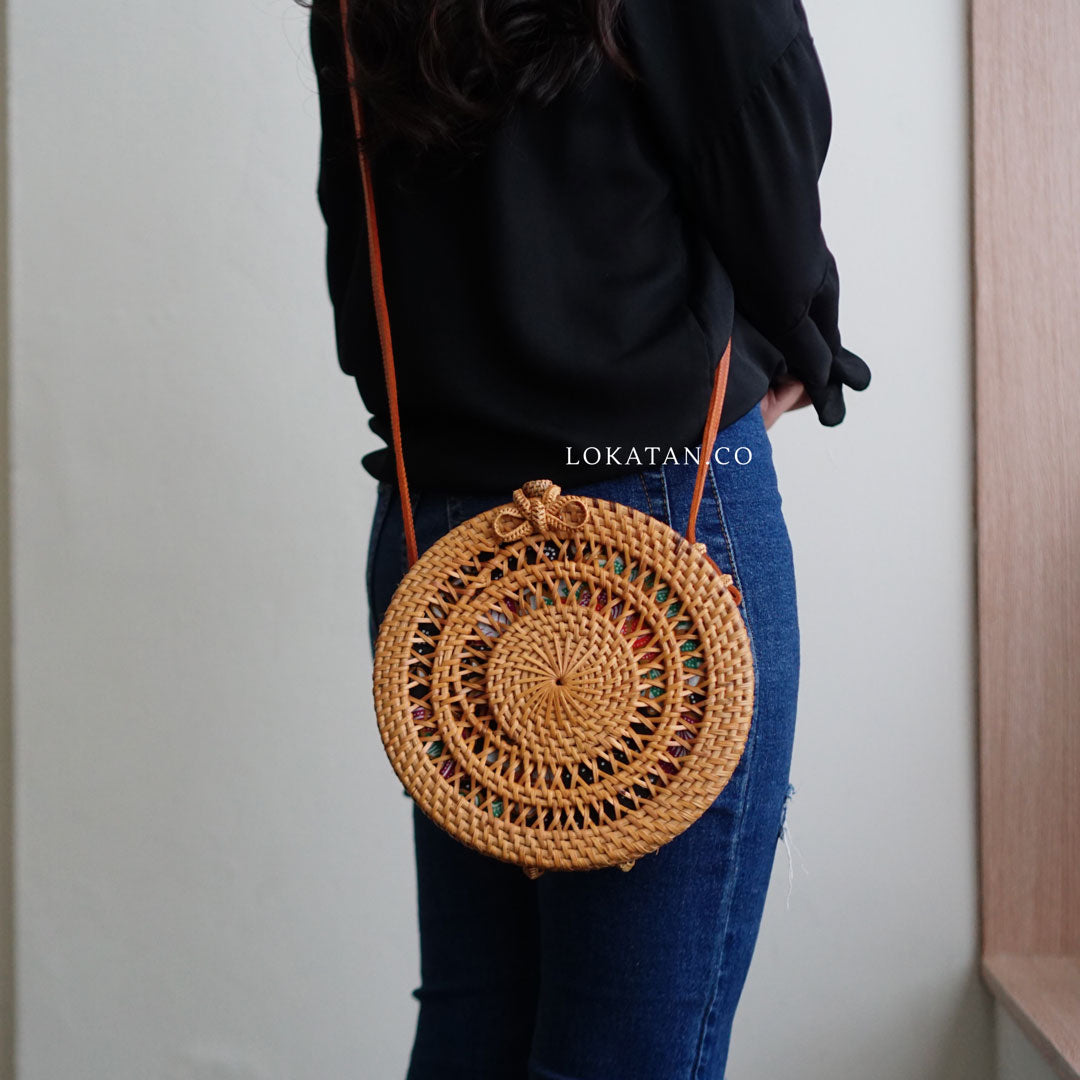 Brown Swirled Handwoven Round Rattan Bag Bali