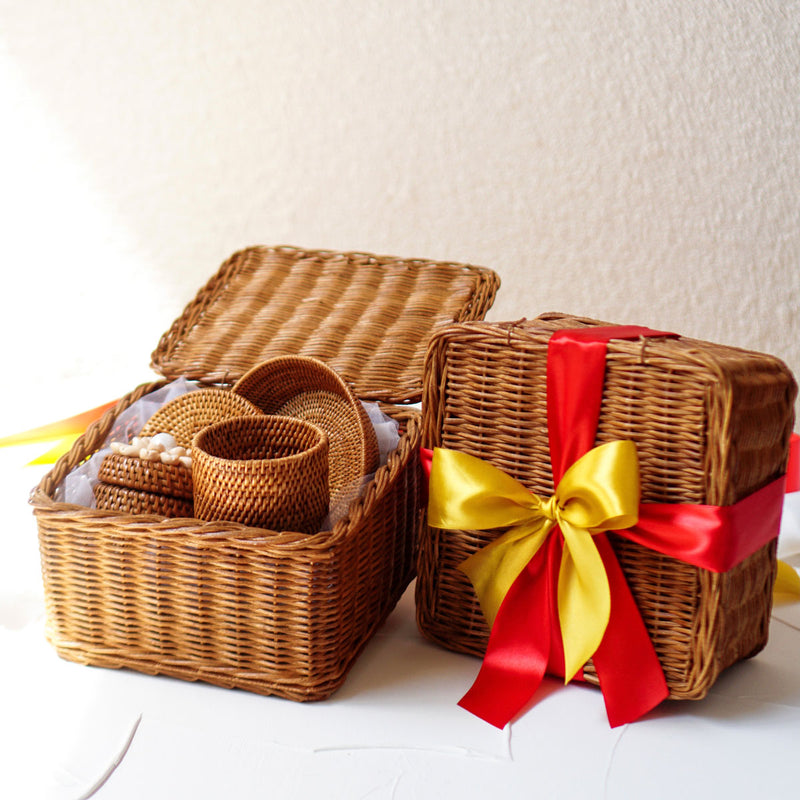 Christmas Hampers Medium Rattan Handmade