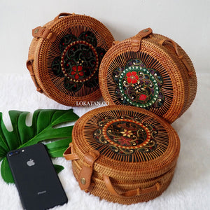 Brown Cukli Plated Round Rattan Bag Bali - Lokatan