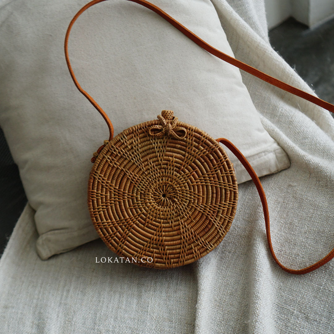 Brown Flower Bali Rattan Bag - Lokatan