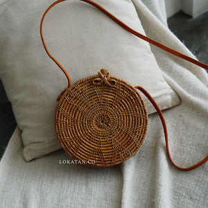 Brown Flower Bali Rattan Bag