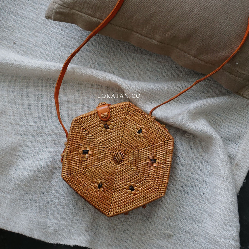 Hexagon Brown Bali Rattan Bag - Lokatan