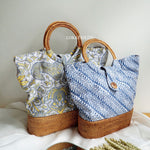 Ikaat Batik Brown Bali Rattan Bag