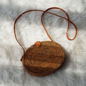 Oval Brown Bali Rattan Bag