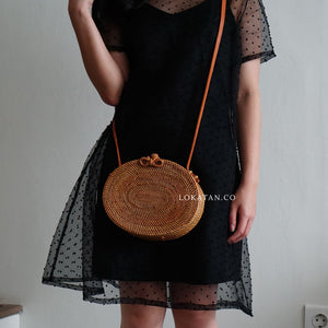 Oval Brown Bali Rattan Bag - Lokatan