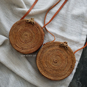 Plain Brown Bali Rattan Bag