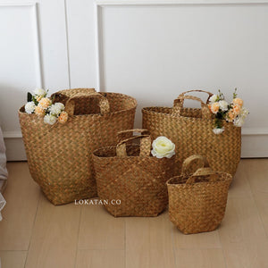 Straw Woven Shopping Basket - Lokatan