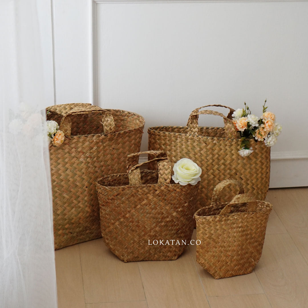Straw Woven Shopping Basket
