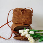 Trapeze Brown Bali Rattan Bag