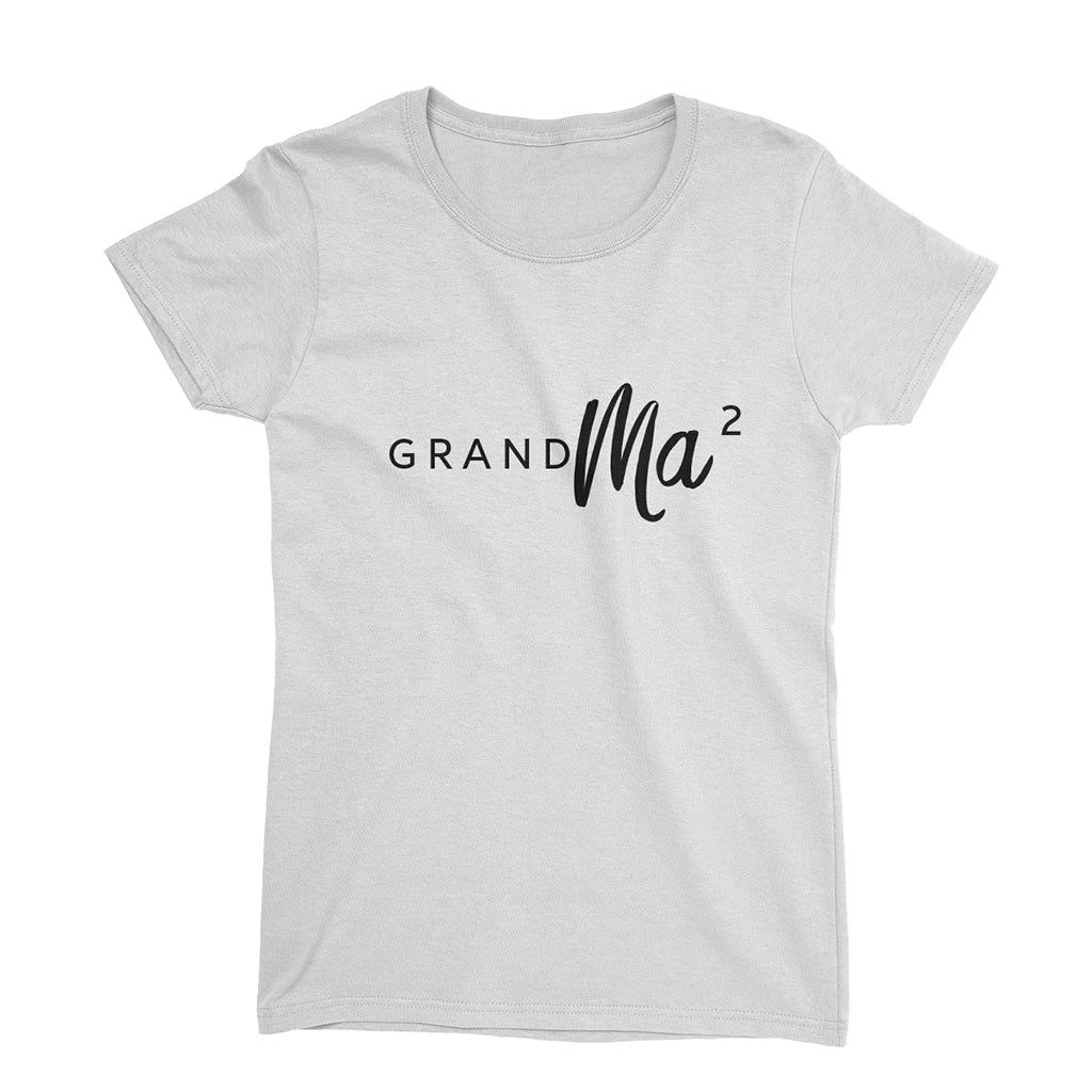 dd48a523afcfb GrandMa or GrandMa for second time_short sleeve Graphic Pregnancy  Announcement T-Shirt_White color at TeeLikeYours