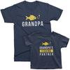 Grandpa and Grandpa's Fishing Partner_short sleeve Graphic Matching T-Shirts for Grandpa and Grandchild_Navy Color at TeeLikeYours.com