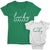 I Got Lucky and Lucky Mama_short sleeve Graphic Matching T-Shirts for Mommy and Me_White and Kelly Green at TeeLikeYours.com