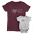 Loved_short sleeve Graphic Matching T-Shirts for Mother and Daughter_Maroon and White Colors at TeeLikeYours.com