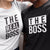 The Boss and The Real Boss - Graphic Matching T-Shirts for Couple color Black and White at TeeLikeYours.com
