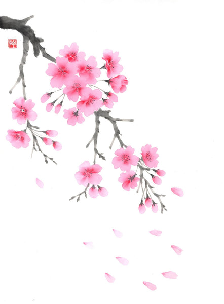 "Sumi-e (Japanese ink painting) Workshop Part 5: ""Coloured Cherry Blossom"" with Akemi Lucas"