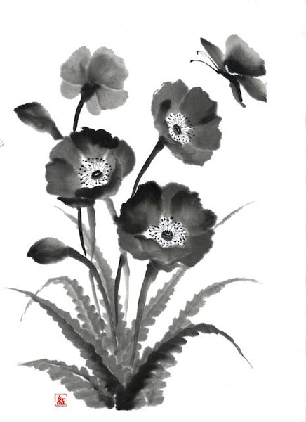 "Sumi-e (Japanese ink painting) Workshop Part 6: ""Poppy with Butterfly"" with Akemi Lucas"