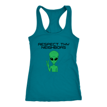 Load image into Gallery viewer, Women's Alien T-Shirt - Respect Thy Neighbors Black Text