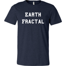 Load image into Gallery viewer, Men's Heather Navy Blue white Text Earth Fractal T-Shirt