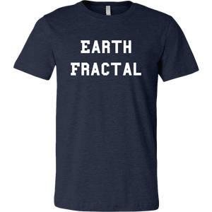 Men's Heather Navy Blue white Text Earth Fractal T-Shirt