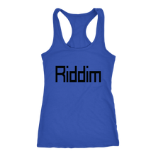 Load image into Gallery viewer, women's blue Riddim EDM tank top t-shirt