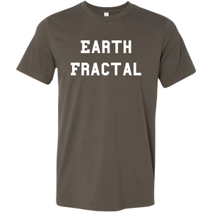 Men's brown white text Earth Fractal T-Shirt