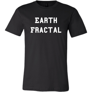 Men's Earth Fractal White Text T-Shirt