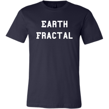 Load image into Gallery viewer, Men's navy white text Earth Fractal T-Shirt