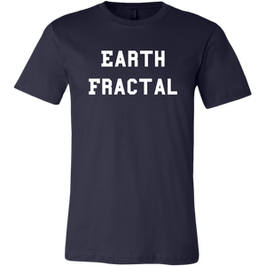 Men's navy white text Earth Fractal T-Shirt