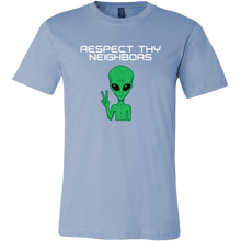 Load image into Gallery viewer, Men's Alien T-Shirt - Respect Thy Neighbors - White Text