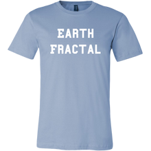 Load image into Gallery viewer, Men's light blue Earth Fractal White Text T-Shirt