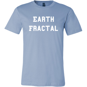 Men's light blue Earth Fractal White Text T-Shirt