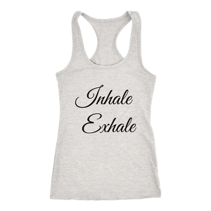 Women's Inhale Exhale  T Shirt - Black Text