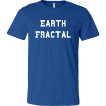 Load image into Gallery viewer, Men's Heather Blue white text Earth Fractal T-shirt