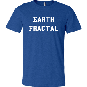 Men's Heather Blue white text Earth Fractal T-shirt