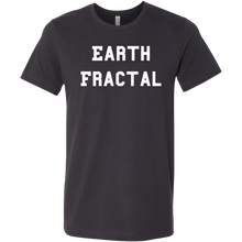 Load image into Gallery viewer, Men's Heather gray white text Earth Fractal T-Shirt