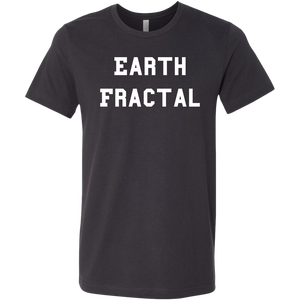 Men's Heather gray white text Earth Fractal T-Shirt
