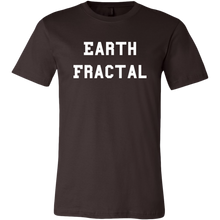 Load image into Gallery viewer, Men's dark brown white text Earth Fractal T-Shirt