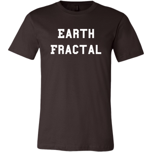 Men's dark brown white text Earth Fractal T-Shirt