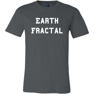 Men's gray white text Earth Fractal T-Shirt