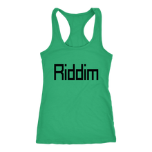Load image into Gallery viewer, women's green Riddim EDM tank top t-shirt