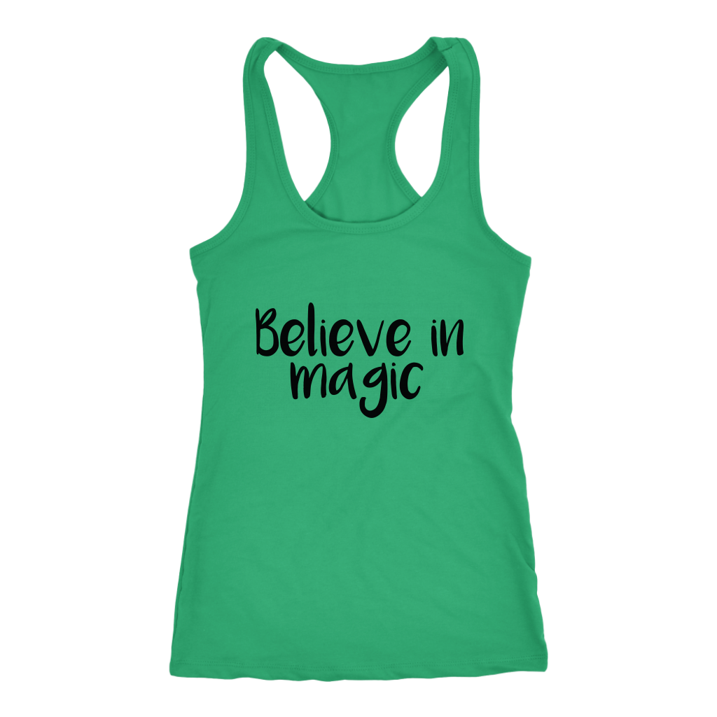 women's green believe in magic tank top t-shirt