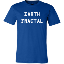Load image into Gallery viewer, Men's blue Earth Fractal White Text T-Shirt