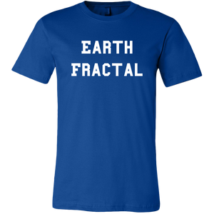 Men's blue Earth Fractal White Text T-Shirt