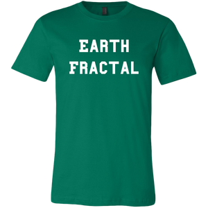 Men's green Earth Fractal White Text T-Shirt