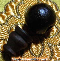 Pearl of head for mala - brown wood