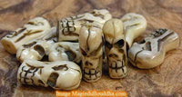 Tibetan mala beads in the shape of skulls (in yak bone).