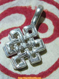 Forceps for mantra mala counter - endless knot in silver.