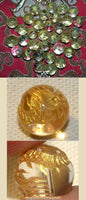 Crystal bead engraved with a golden dragon
