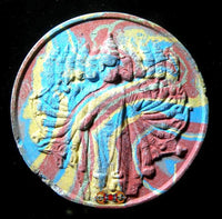 Large multicolored amulet from Vishnu.