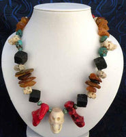 Tibetan Shamanic style necklace with bone skulls.